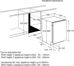 Maattekening AEG vaatwasser inbouw F66602VI0P