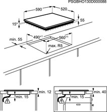 Maattekening AEG kookplaat inductie HK6542H0FB