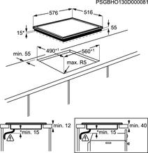 Maattekening AEG kookplaat inductie HK6542H0XB