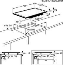 Maattekening AEG kookplaat inductie HK8542H0XB