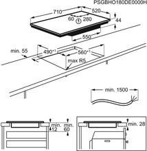 Maattekening AEG kookplaat inbouw inductie IKE74440CB