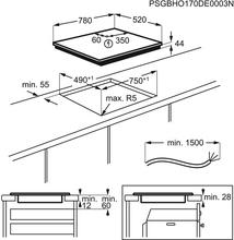 Maattekening AEG kookplaat inbouw inductie IKE86683FB