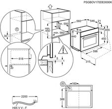 Maattekening AEG oven inbouw rvs KPE748280M