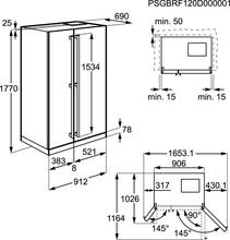 Maattekening AEG koelkast side-by-side S76090XNS1