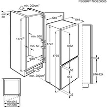 Maattekening AEG koelkast inbouw SCB418F3LS