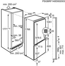 Maattekening AEG koelkast inbouw SCE618F3LF