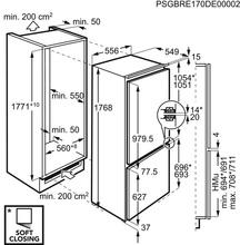 Maattekening AEG koelkast inbouw SCE818E5TC