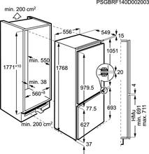 Maattekening AEG koelkast inbouw SCS71801F1