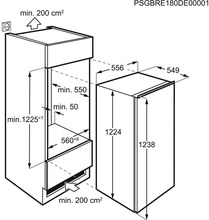 Maattekening AEG koelkast inbouw SFB612F1AF