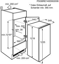 Maattekening AEG koelkast inbouw SKB512E1AS