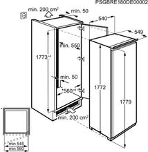 Maattekening AEG koelkast inbouw SKB618F1DS