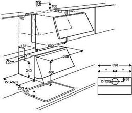 Maattekening AEG afzuigkap geintegreerd X56342SE10