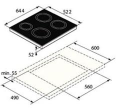 Maattekening ASKO kookplaat inductie HI1643G
