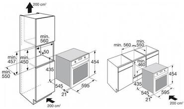 Maattekening ATAG combi-stoomoven CS4411B