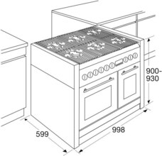 Maattekening ATAG fornuis matzwart / rvs FG1070DA