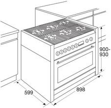 Maattekening ATAG fornuis rvs-matzwart FG9070EA