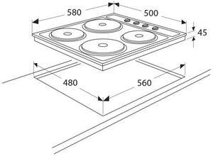 Maattekening ATAG kookplaat elektrisch HE6011B
