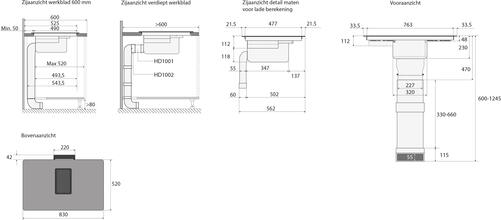Maattekening ATAG inductie kookplaat met afzuiging zwart HIDD8471EV