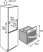 Maattekening ATAG oven inbouw OX6411ER