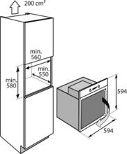 Maattekening ATAG oven inbouw OX6411LL