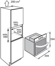 Maattekening ATAG oven inbouw OX6411LR