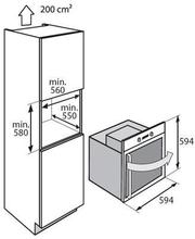Maattekening ATAG oven inbouw grafiet OX6492LR