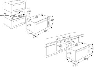 Maattekening ATAG oven inbouw grafiet OX9570G