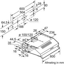 Afmetingen BOSCH afzuigkap onderbouw motoloos DHU635PEU