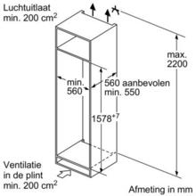 Afmetingen BOSCH koelkast inbouw KIS77AD40