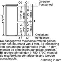 Afmetingen BOSCH koelkast inbouw KIV34V21FF