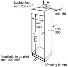 Afmetingen BOSCH koelkast inbouw KIV34V50