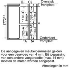Afmetingen BOSCH koelkast inbouw KIV38V20FF