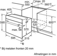 Afmetingen BOSCH oven inbouw HBA23B150E
