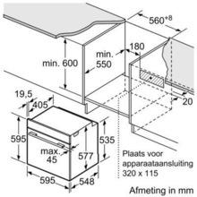 Afmetingen BOSCH oven inbouw HBG6730S1