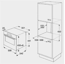 Maattekening BAUKNECHT oven met magnetron BMTMS8145SW