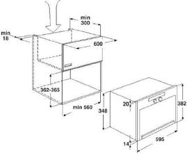 Maattekening BAUKNECHT magnetron met stoom EMSP9238PT
