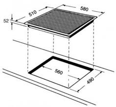 Maattekening BAUKNECHT kookplaat inductie ESIF6640IN