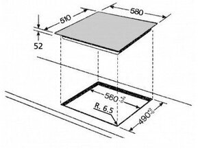 Maattekening BAUKNECHT kookplaat inductie ESIFF7640IN