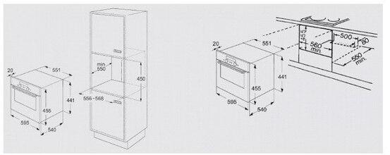 Maattekening BAUKNECHT combi stoomoven ESTM9145PT