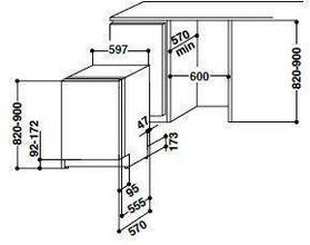 Maattekening BAUKNECHT vaatwasser inbouw GSX61204/A++