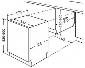 Maattekening BAUKNECHT vaatwasser besteklade GSXK8254A2