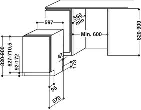 Maattekening BAUKNECHT vaatwasser verhoogd besteklade GSXPX384A3