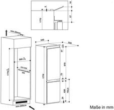 Maattekening BAUKNECHT koelkast inbouw KGIE1182/A+