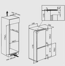 Maattekening BAUKNECHT koelkast inbouw KGIN3183A++