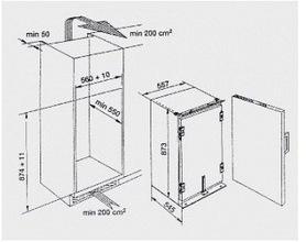 Maattekening BAUKNECHT koelkast inbouw KRI1504/A+