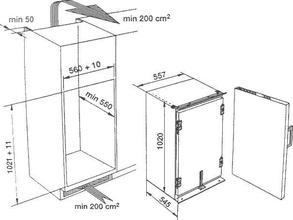 Maattekening BAUKNECHT koelkast inbouw KRI1804/A+
