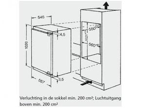 Maattekening BAUKNECHT koelkast inbouw KRIE2104/A++
