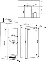 Maattekening BAUKNECHT koelkast inbouw KRIE2125/A++