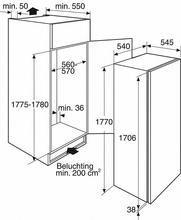 Maattekening BAUKNECHT koelkast inbouw KRIE2183A++