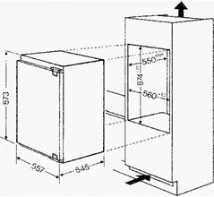 Maattekening BAUKNECHT koelkast inbouw KRIE7887/A++